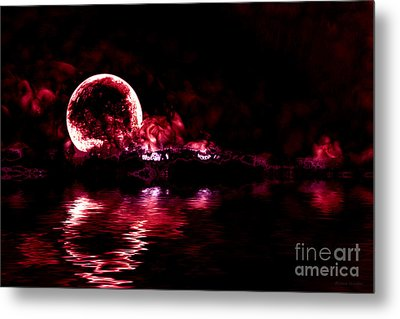 Winter Ocean Moonrise Metal Print