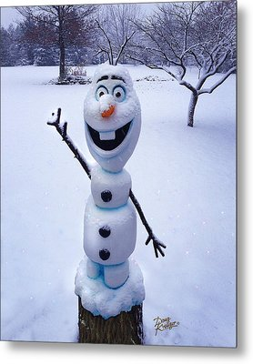 Metal Print featuring the sculpture Winter Olaf by Doug Kreuger