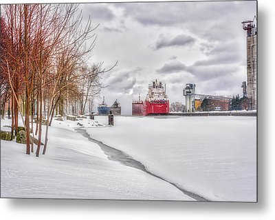 Winter Owen Sound Harbour Metal Print by Irwin Seidman