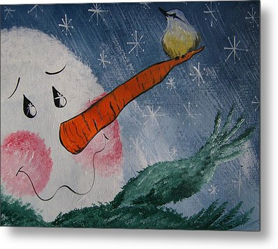 Winter Perch Metal Print by Leslie Manley