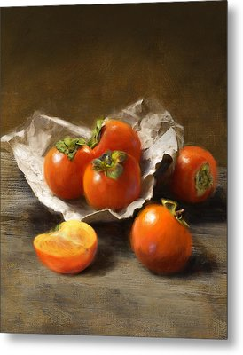 Winter Persimmons Metal Print