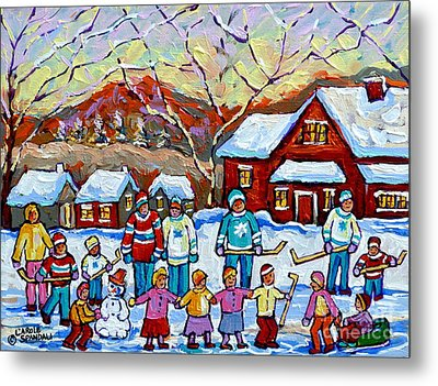 Winter Playground Painting By Canadian Hockey Art Specialist Carole Spandau Skating Sledding Snowman Metal Print by Carole Spandau