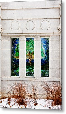 Winter Quarters Temple Tree Of Life Stained Glass Window Details Metal Print by Greg Collins