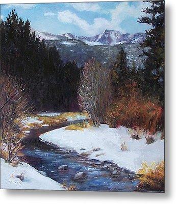 Winter River Bend Metal Print by Donna Munsch