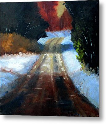 Winter Road Landscape Metal Print