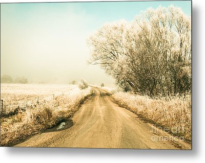 Winter Road Wonderland Metal Print