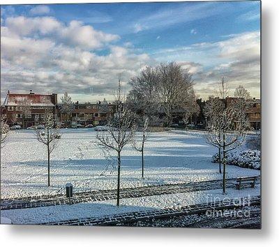 Winter Scene In City Metal Print