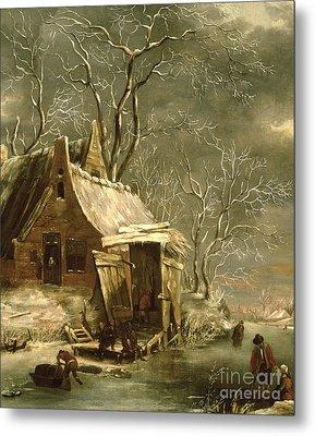 Winter Scene Metal Print by Jan Beerstraten