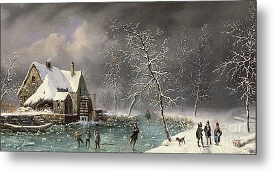 Winter Scene Metal Print by Louis Claude Mallebranche