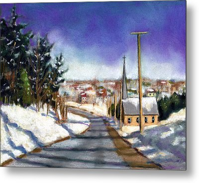 Winter Scene With Church Metal Print by Joyce Geleynse