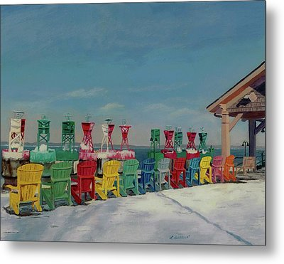 Metal Print featuring the painting Winter Sentries by Lynne Reichhart
