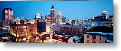 Winter Skyline At Night, Milwaukee Metal Print