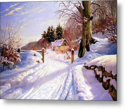 Winter Snow Glow Metal Print by Georgiana Romanovna