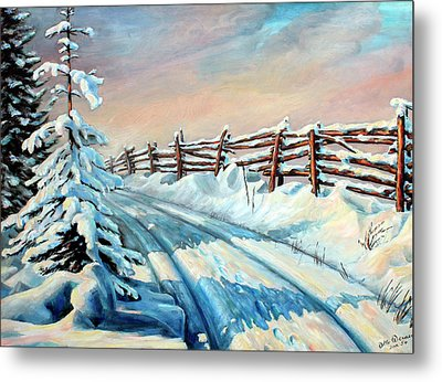 Winter Snow Tracks Metal Print by Hanne Lore Koehler