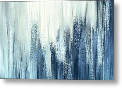 Winter Sorrows - Blue And White Abstract Metal Print by Lourry Legarde
