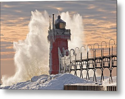 Winter South Haven Lighthouse Metal Print by Dean Pennala