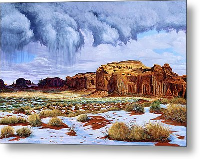 Winter Storm In Mystery Valley Metal Print