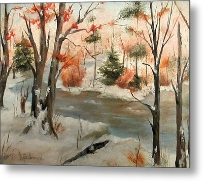 Winter Stream Metal Print by Roseann Gilmore