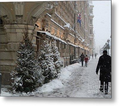 Winter Stroll In Helsinki Metal Print by Margaret Brooks
