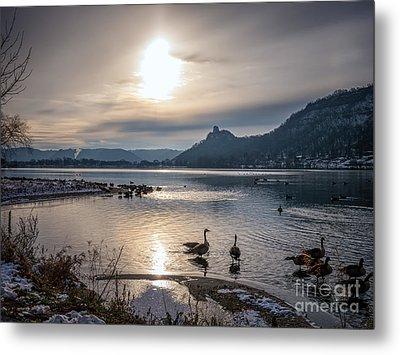 Winter Sugarloaf With Geese II Metal Print