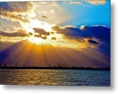 Winter Sunrise Over Miami Beach Metal Print by William Wetmore
