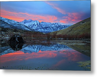 Metal Print featuring the photograph Winter Sunset At The Wallsburg Turn. by Johnny Adolphson