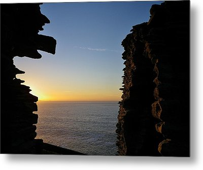 Winter Sunset At Tintagel Castle Cornwall Metal Print