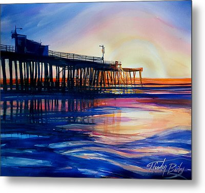 Winter Sunset On Pismo  Pier Metal Print by Therese Fowler-Bailey