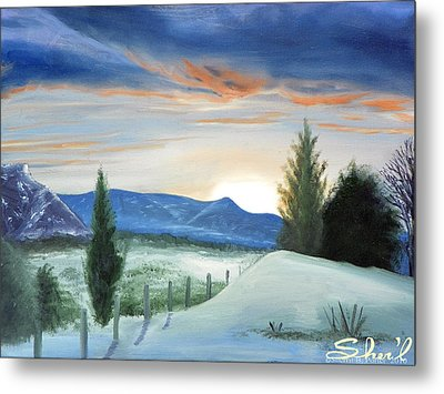 Metal Print featuring the painting Winter Sunset by Sherril Porter