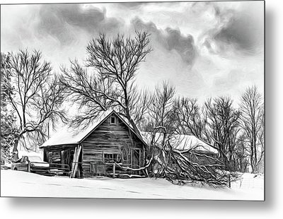 Winter Thoughts 2 - Bw Metal Print