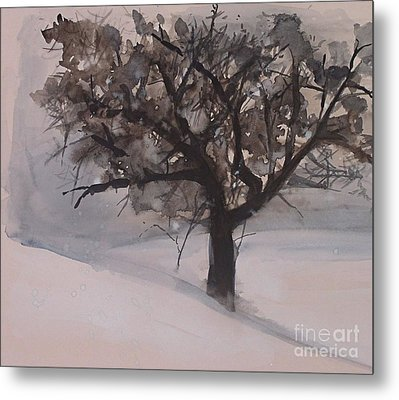 Metal Print featuring the painting Winter Tree by Laurie Rohner