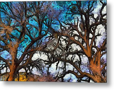 Metal Print featuring the photograph Winter Trees At Fort Tejon Lebec California Abstract by Floyd Snyder