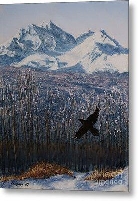 Winter Valley Raven Metal Print by Stanza Widen