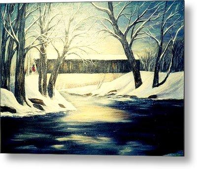 Winter Walk At Bennett's Mill Bridge Metal Print by Gail Kirtz