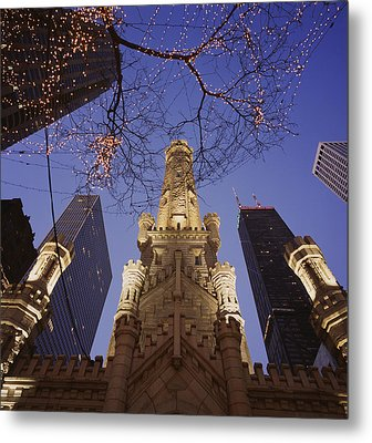 Winter Water Tower Chicago Il Metal Print by Panoramic Images