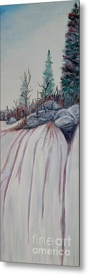 Metal Print featuring the painting Winter Waterfall by Marilyn  McNish