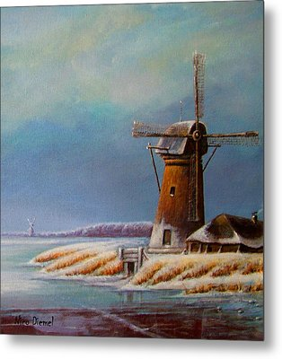 Winter Windmill Metal Print by Nick Diemel