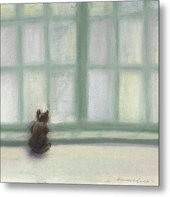 Winter Window Metal Print by Bernadette Kazmarski