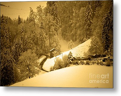Metal Print featuring the photograph Winter Wonderland In Switzerland - Up The Hills by Susanne Van Hulst