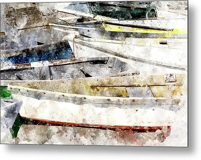 Winterport Dories Wc Metal Print by Peter J Sucy