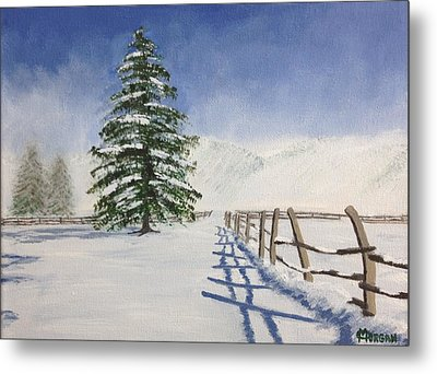 Metal Print featuring the painting Winter's Beauty by Cynthia Morgan