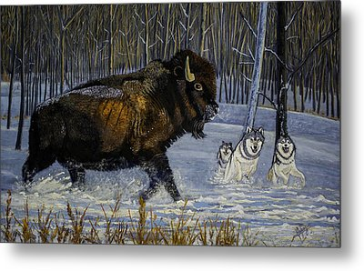 Winter's Hunt  48x30x1 Inch Oil On Gallery Canvas Metal Print