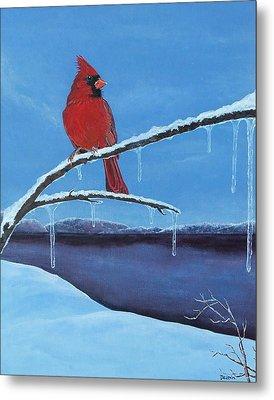 Winter's Red Metal Print by Susan DeLain