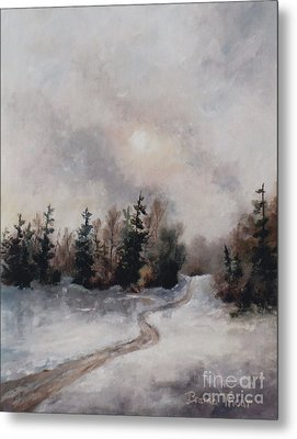Metal Print featuring the painting Winters Sunset by Brenda Thour