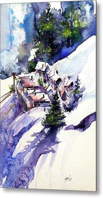 Wintertime Village Metal Print