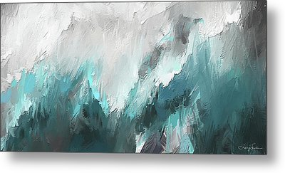 Wintery Mountain- Turquoise And Gray Modern Artwork Metal Print by Lourry Legarde