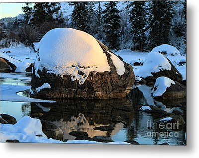 Metal Print featuring the photograph Wintery Rock by Edward R Wisell