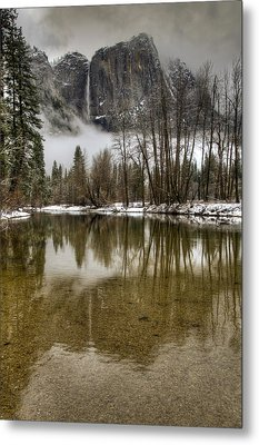 Wintery Upper And Lower Yosemite Falls  Metal Print by Connie Cooper-Edwards