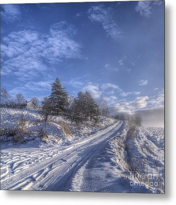 Wintry Road Metal Print