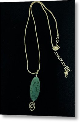 Wire Wrapped Pendant Metal Print by J Cheyenne Howell